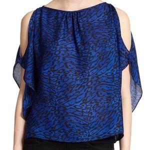 PARKER Blue Miriam Animal-Print Silk top!